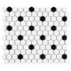 "Metro Hex Matte White with Black Dot 10-1/4""x11-7/8"" x 6mm Porcelain Mosaic Tile (8.65 sq. ft. / Case)"