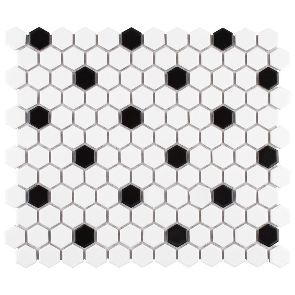 Metro Hex Matte White with Black Dot 10-1/4''x11-7/8'' x 6mm Porcelain Mosaic Tile (8.65 sq. ft. / Case)