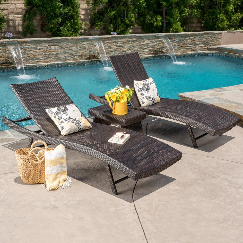 Noble House Kauai Multi-Brown 3-Piece Wicker Outdoor Chaise Lounge