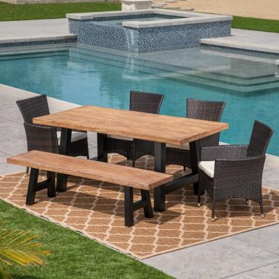 Sina Brown 6-Piece Wicker Outdoor Dining Set with Beige Cushions