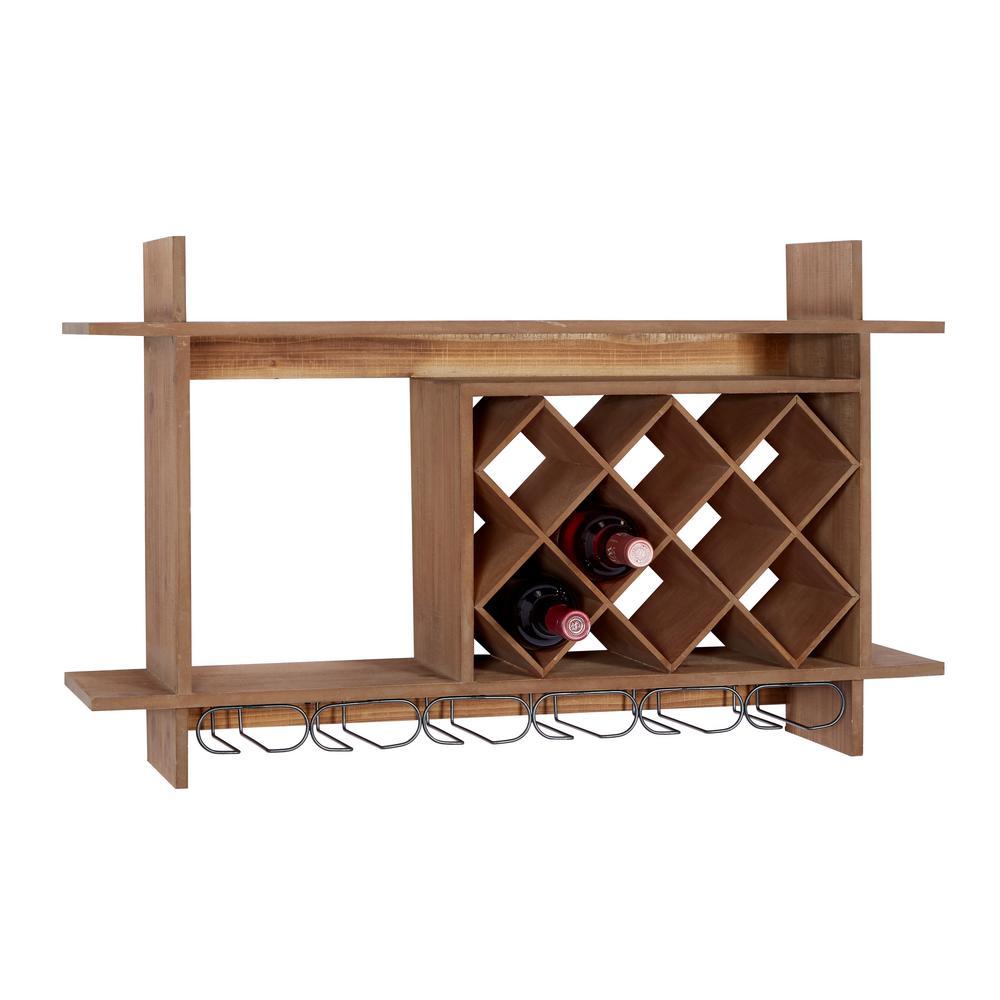 9-Bottle Brown Natural Wood Wine Rack