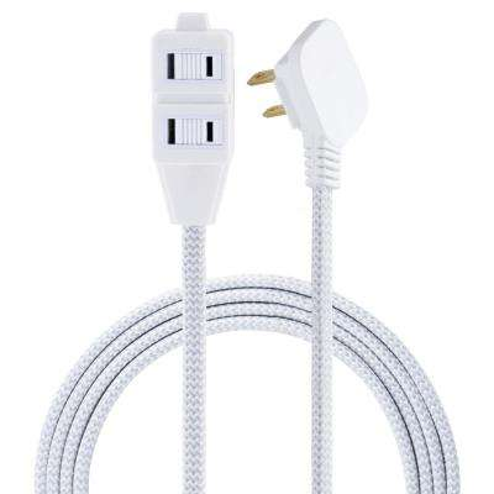 8 ft. 3 Polarized Outlet Basic Extension Cord, Grey/White