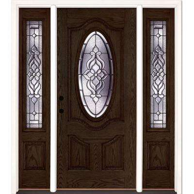 67.5 in.x81.625 in. Lakewood Patina 3/4 Oval Lt Stained Walnut Oak Right-Hand Fiberglass Prehung Front Door w/ Sidelites