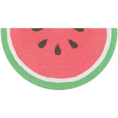 Cucina Watermelon 1 ft. 6 in. x 3 ft. Half Circle Kitchen Mat