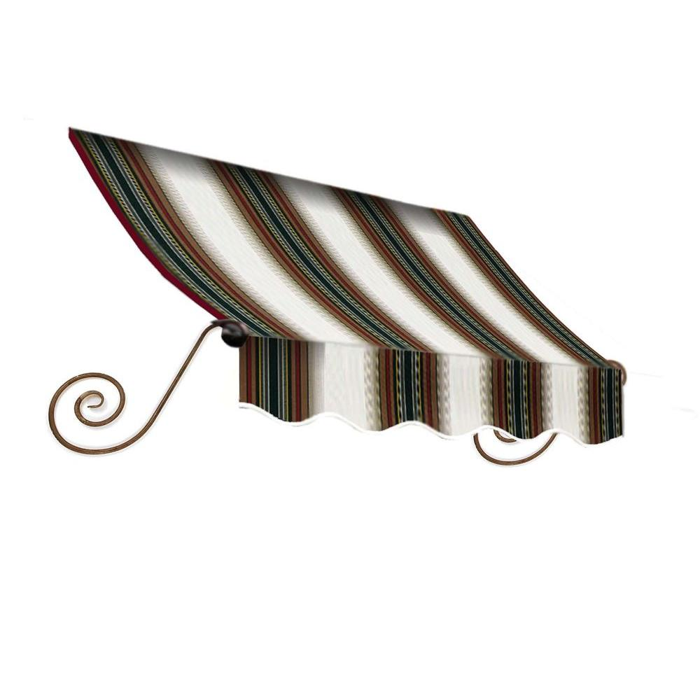 AWNTECH 8 ft. Charleston Window Awning (44 in. H x 36 in. D) in Burgundy/Forest/Tan Stripe