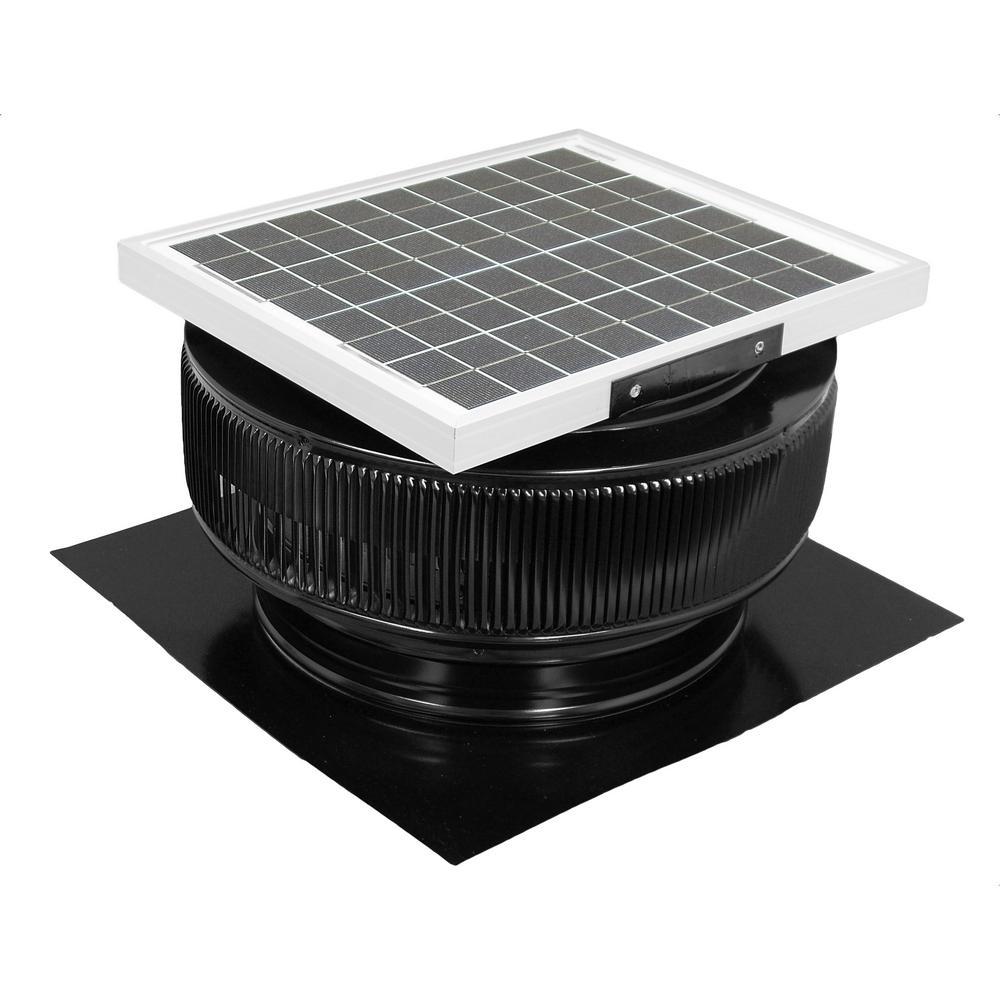 1007 CFM Black Powder Coated 15-Watt Solar Powered 14 in. Dia. Roof Mounted Attic Exhaust Fan
