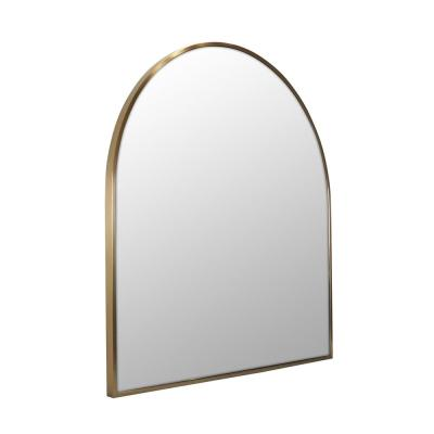 30 in. W x 32 in. H Framed Arched Bathroom Vanity Mirror in Satin Brass