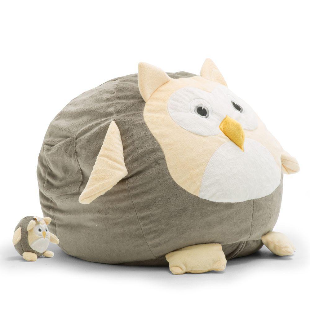 Big Joe Oscar The Owl Cozy Grey Plush Bean Bag 7660owl