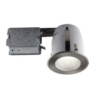 4-in. Brushed Chome Slim Design Recessed Fixture Kit for Damp Locations