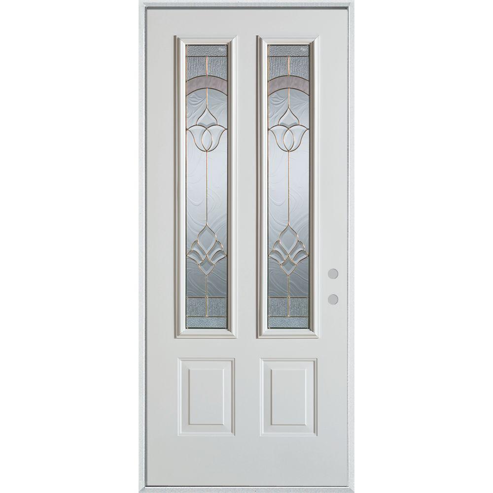 Stanley Doors 33.375 in. x 82.375 in. Traditional Brass 2 Lite 2-Panel Painted White Left-Hand Inswing Steel Prehung Front Door