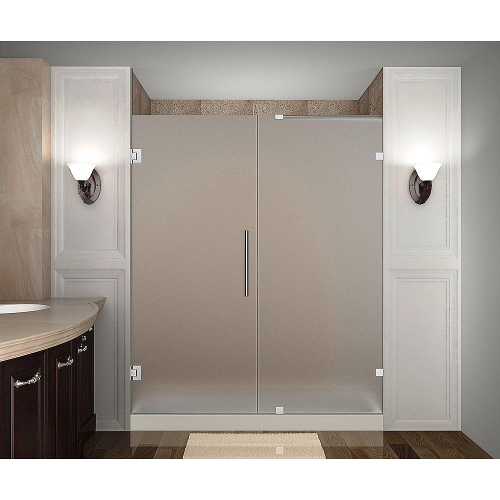 Nautis 74 in. x 72 in. Completely Frameless Hinged Shower Door
