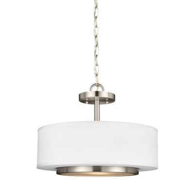 Nance 2-Light Brushed Nickel Semi-Flushmount Convertible Pendant with LED Bulbs