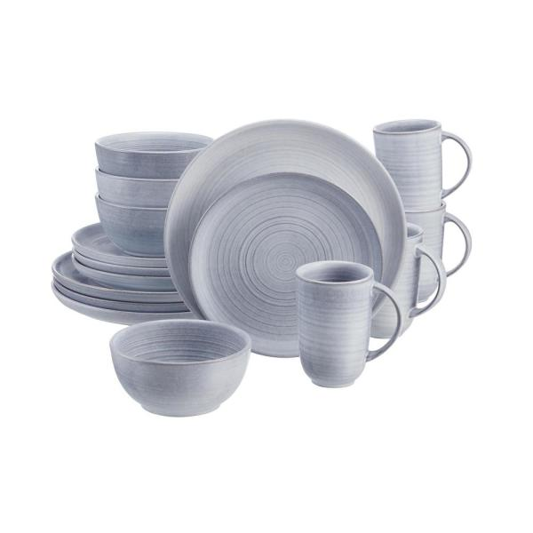 Blakely 16-Piece Reactive Glaze Raindrop Blue Stoneware Dinnerware Set (Service for 4)