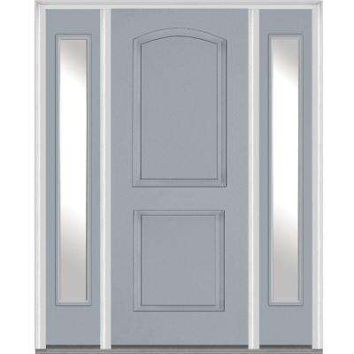 64 in. x 80 in. Left Hand Inswing 2-Panel Arch Painted Fiberglass Smooth Prehung Front Door with Sidelites
