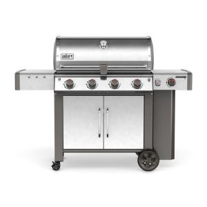 Click here to buy Weber Genesis II LX S-440 4-Burner Propane Gas Grill in Stainless Steel with Built-In Thermometer and Grill Light by Weber.