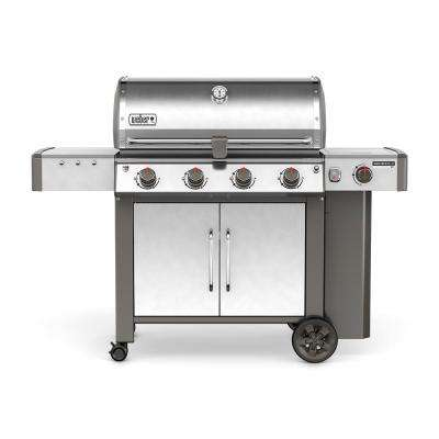 Genesis II LX S-440 4-Burner Propane Gas Grill in Stainless Steel with Built-In Thermometer and Grill Light