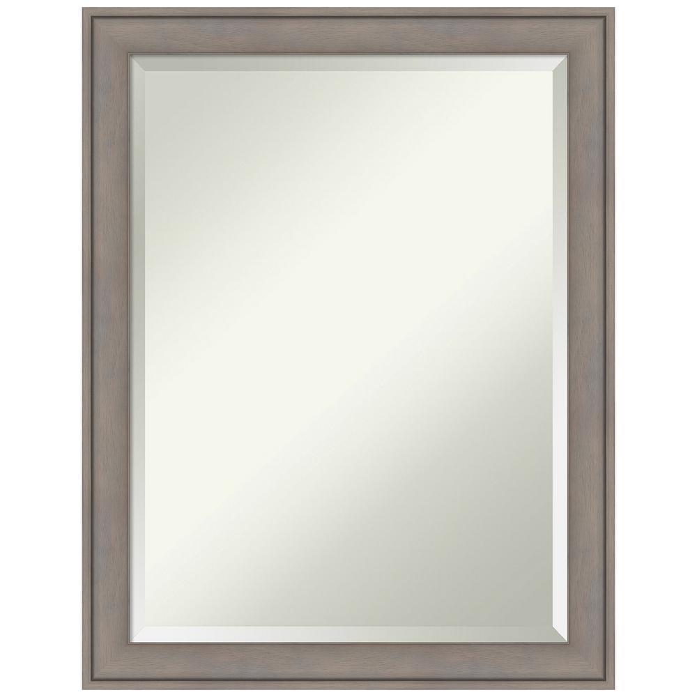 Graywash 21 in. W x 27 in. H Framed Rectangular Beveled Edge Bathroom Vanity Mirror in Graywash