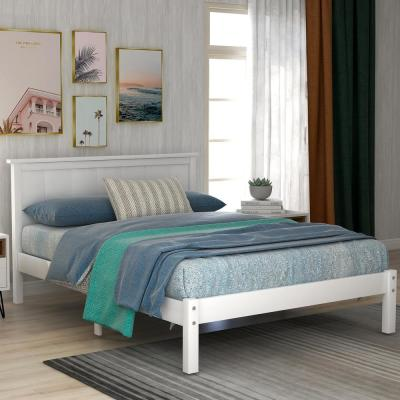 White Twin Seeley Platform Bed with Headboard