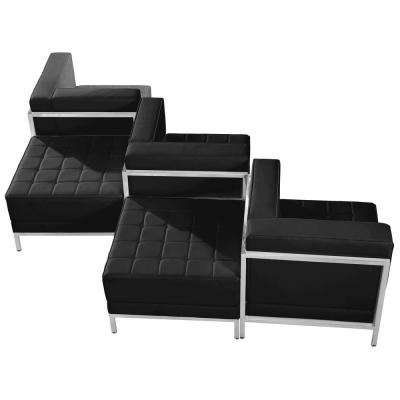 Hercules Imagination Series 5-Piece Black Leather Chair and Ottoman Set