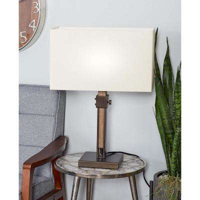 24 in. Brown Adjustable Table Lamp with White Drum Shade