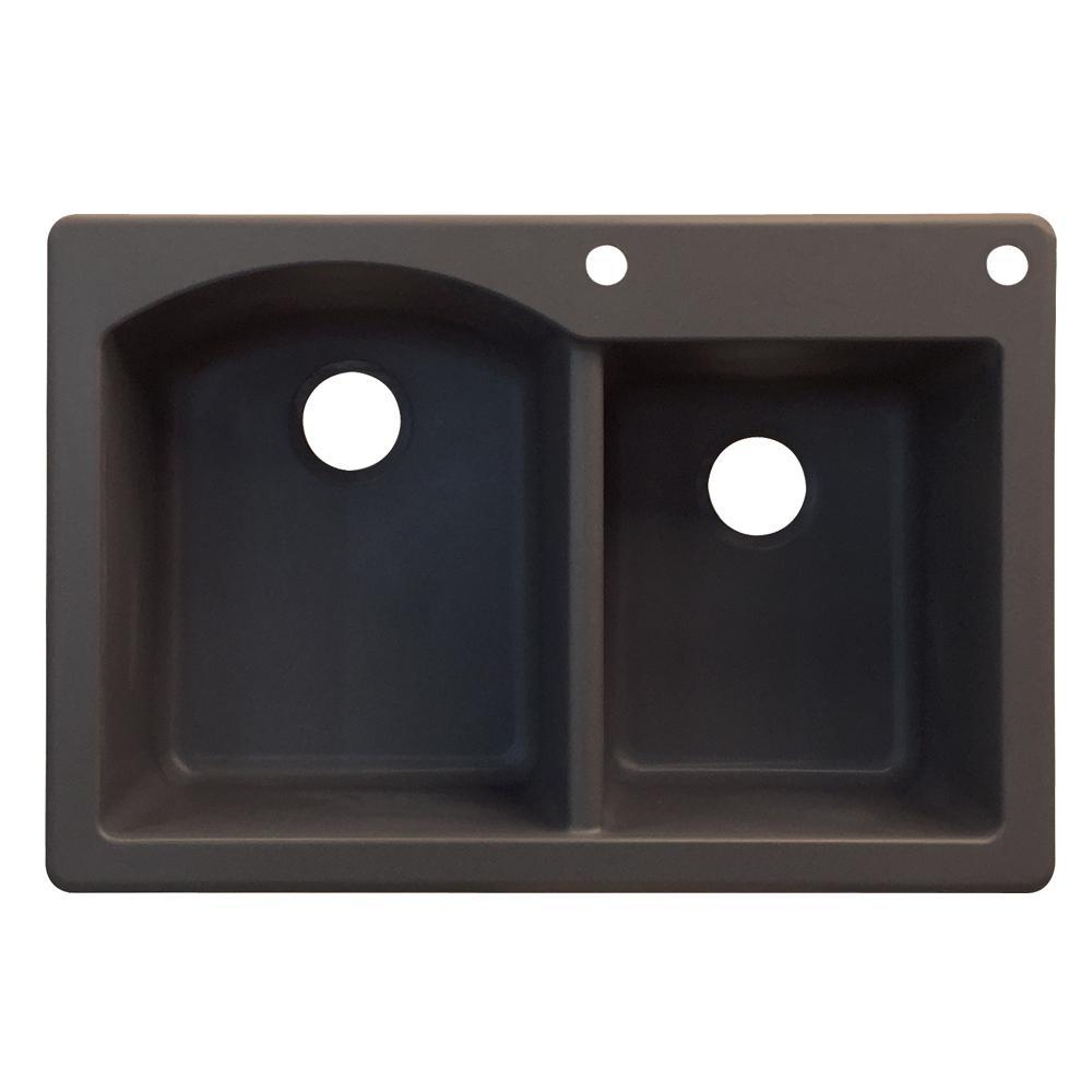 Aversa Drop-in Granite 33 in. 2-Hole 1-3/4 D-Shape Double Basin Kitchen Sink in Espresso