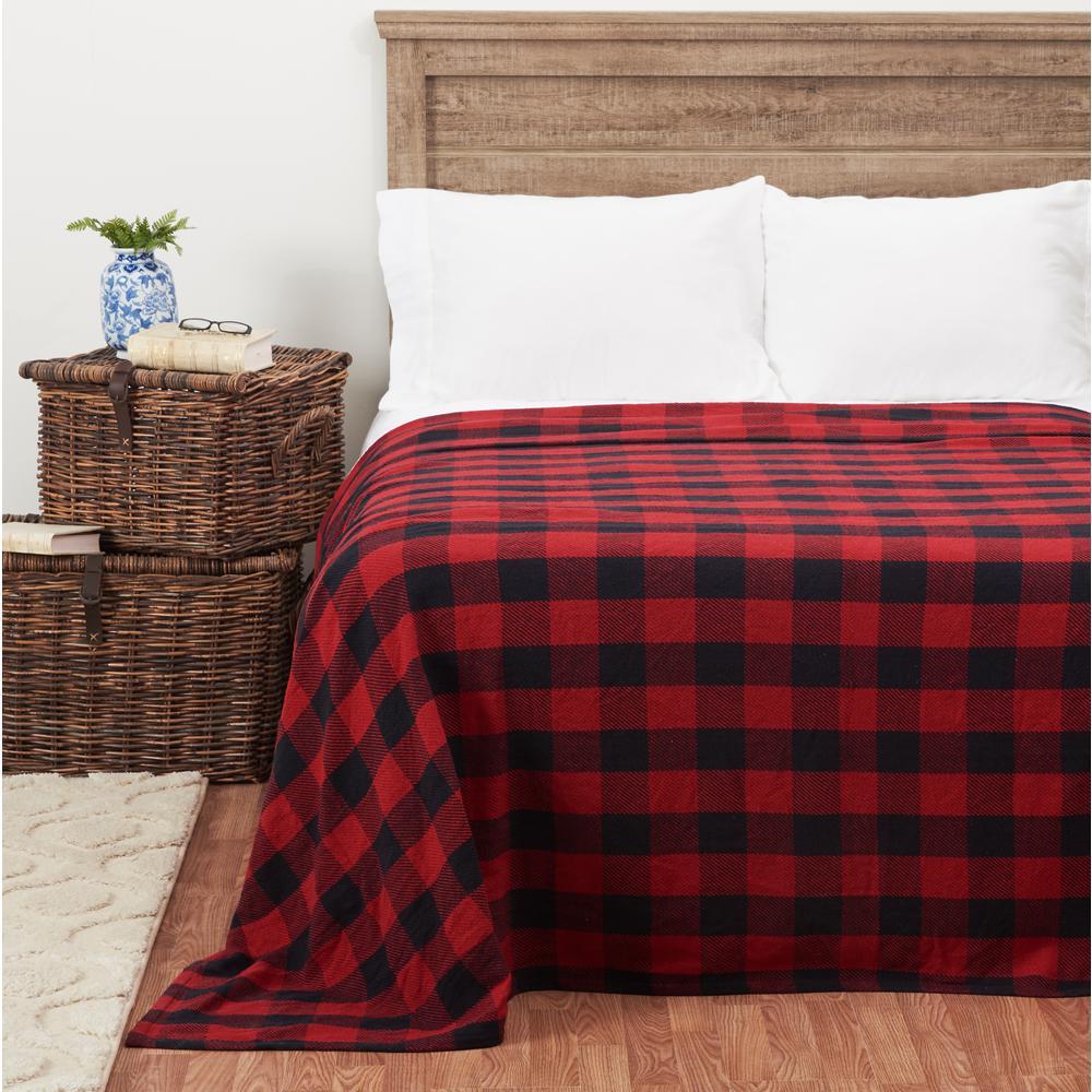 Franklin Black/Red Cotton King Blanket