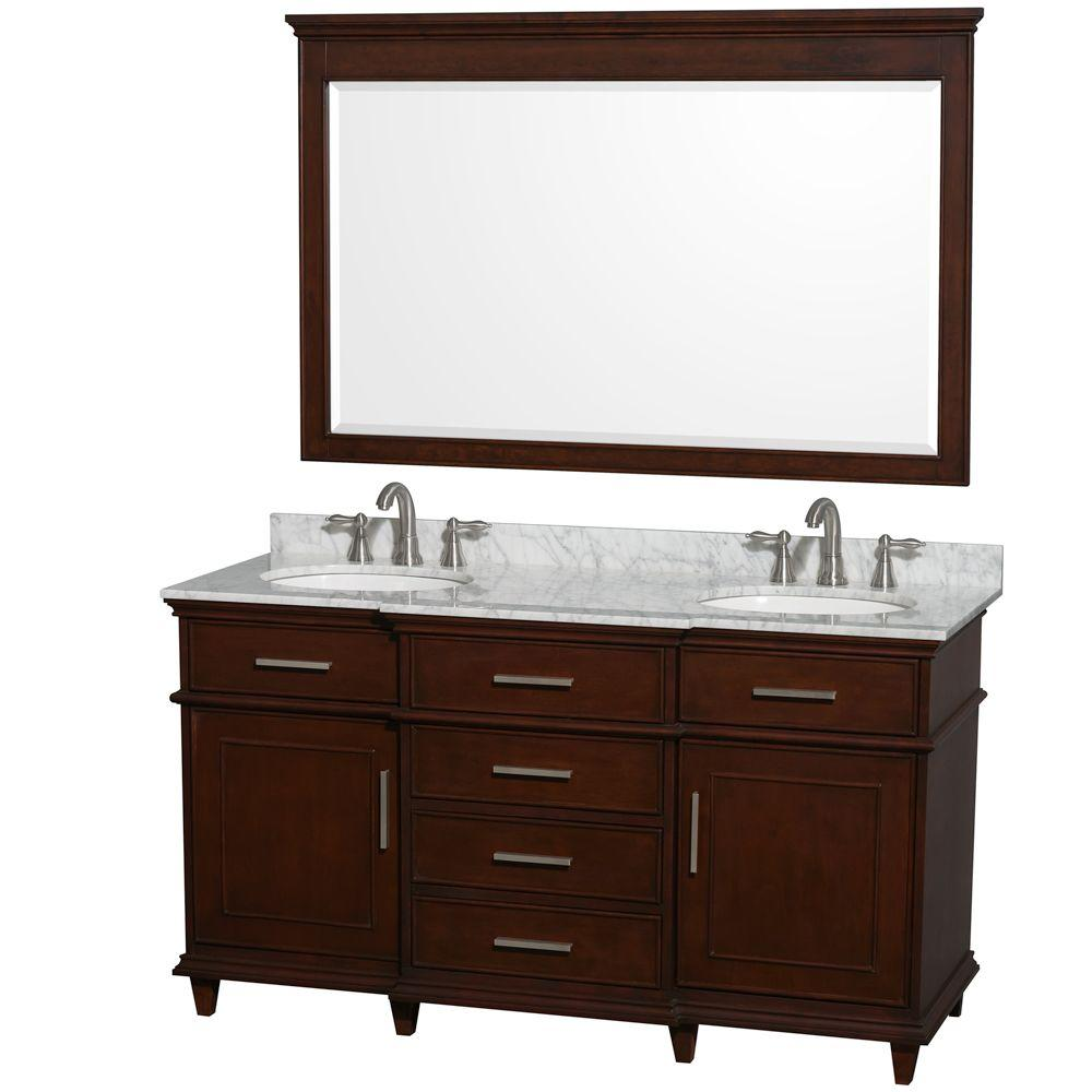 Wyndham Collection Berkeley 60 in. Double Vanity in Dark Chestnut with Marble Vanity Top in Carrara White, Oval Sink and 56 in. Mirror