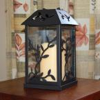 undefined 5.3 in. x 9 in. Black Vine Metal Lantern with LED Candle