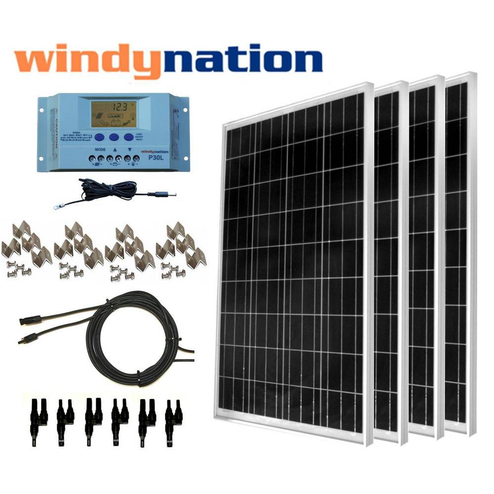 400-Watt Off-Grid Polycrystalline Solar Panel Kit with LC...