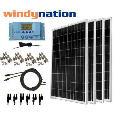 400-Watt Off-Grid Polycrystalline Solar Panel Kit with LCD Charge Controller