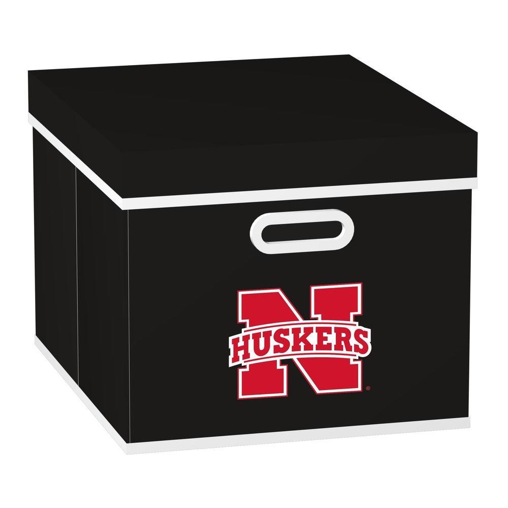MyOwnersBox College STACKITS University of Nebraska 12 in. x 10 in. x 15 in. Stackable Black Fabric Storage Cube