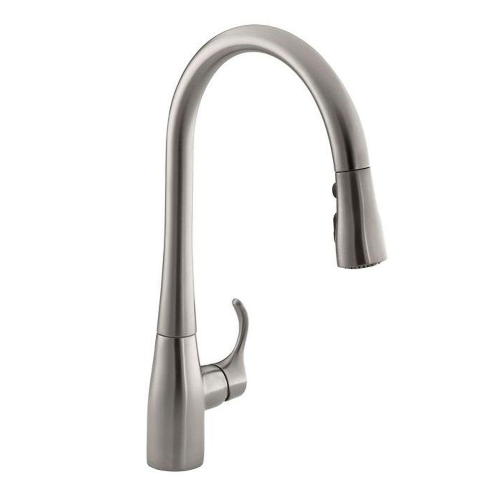 KOHLER Simplice Single-Handle Pull-Down Sprayer Kitchen Faucet with  DockNetik and Sweep Spray in Vibrant Stainless-K-596-VS - The Home Depot