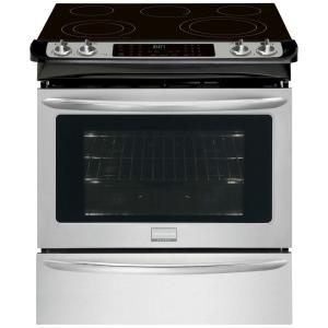 Click here to buy Frigidaire Gallery 30 inch 4.6 cu. ft. Slide-In Electric Range with Self-Cleaning Convection Oven in Stainless Steel by Frigidaire Gallery.