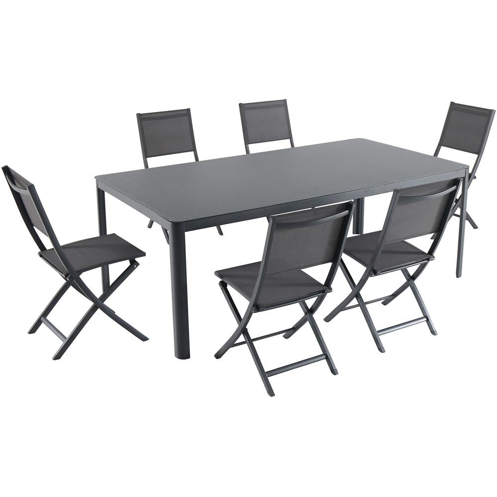 Hanover Fresno 7 Piece Aluminum Outdoor Dining Set With 6 Folding Chairs  And A
