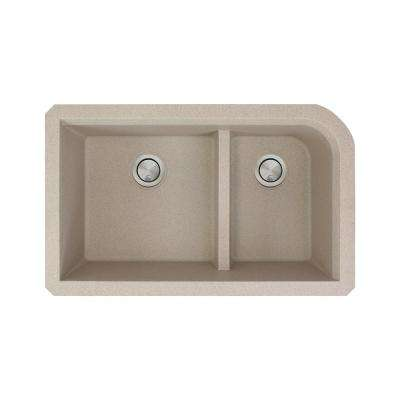 Radius Undermount Granite 32 in. 1-3/4 J-Shape Double Bowl Kitchen Sink in Cafe Latte