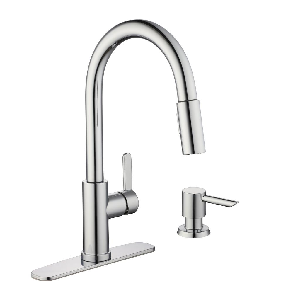 Glacier Bay Paulina Single-Handle Pull-Down Sprayer Kitchen Faucet with TurboSpray and FastMount Including Soap Dispenser in Chrome