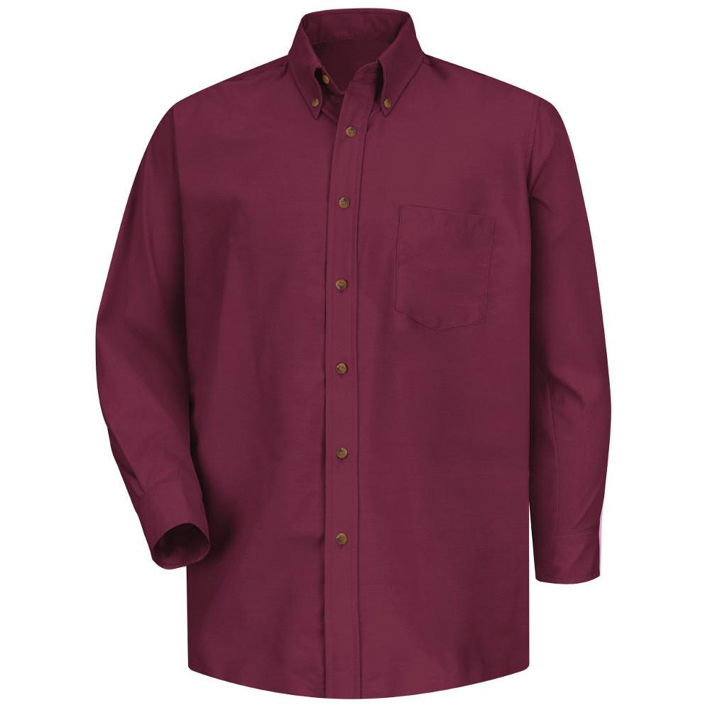 Red Kap Men S Size 36 37 Tall Burgundy Poplin Dress Shirt Sp90by L