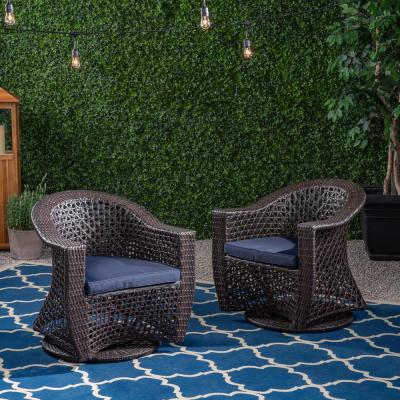 Big Sur Multi-Brown Swivel Wicker Outdoor Lounge Chair with Navy Blue Cushion (2-Pack)