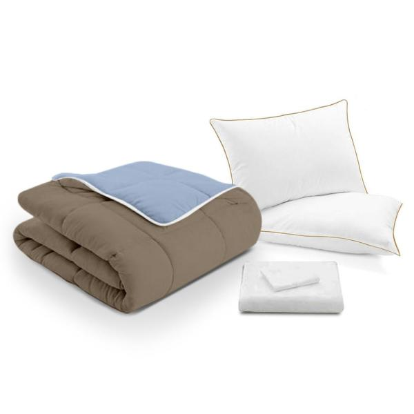 A1 Home Collections A1HC Reversible Blue/Khaki/White 300TC Queen Bed in a