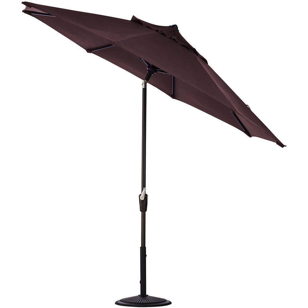 Home Decorators Collection 9 ft. Auto Tilt Patio Umbrella in Fife Plum Sunbrella