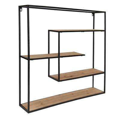Ulna 6 in. x 29 in. x 29 in. Black Metal Decorative Wall Shelf