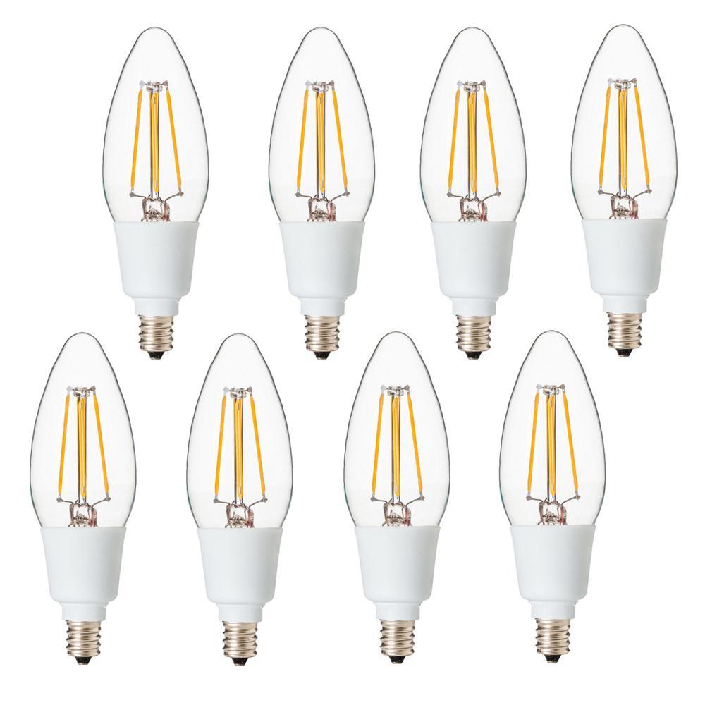 Dimmable Filament 40-Watt Equivalent 2700K E12 B11 LED Replacement Fine Tip Light Bulb, Warm White (Set of 8)