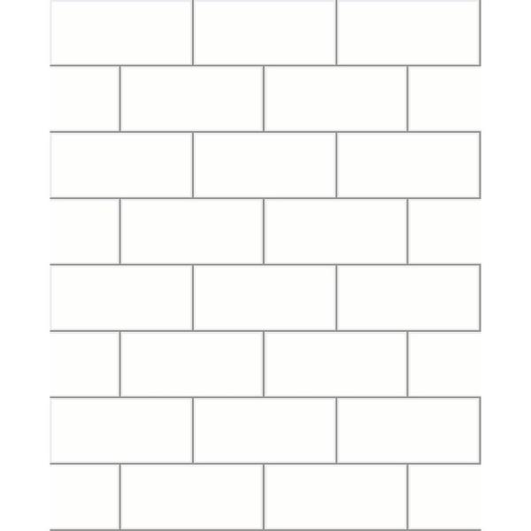 Brewster 56.4 sq. ft. Galley Off-White Subway Tile Wallpaper 2767-23750