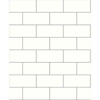 8 in. x 10 in. Galley Off-White Subway Tile Wallpaper Sample
