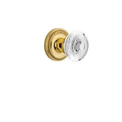 Rope Rosette Interior Mortise Crystal Egg and Dart Door Knob in Unlacquered Brass