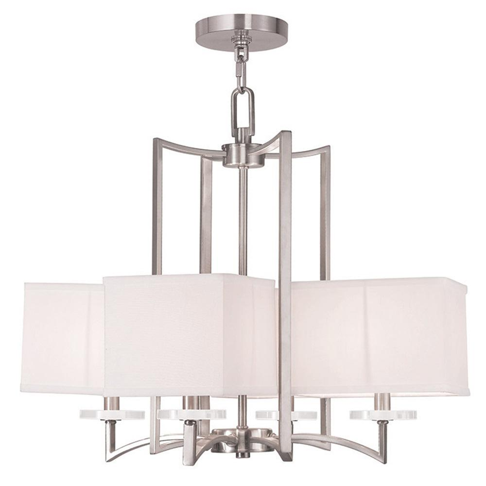 Livex Lighting Woodland 4 Light Brushed Nickel Chandelier With Hand Crafted Off White Fabric