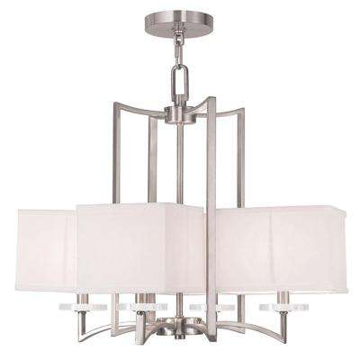 Woodland 4-Light Brushed Nickel Chandelier with Hand Crafted Off-White Fabric Hardback Shade