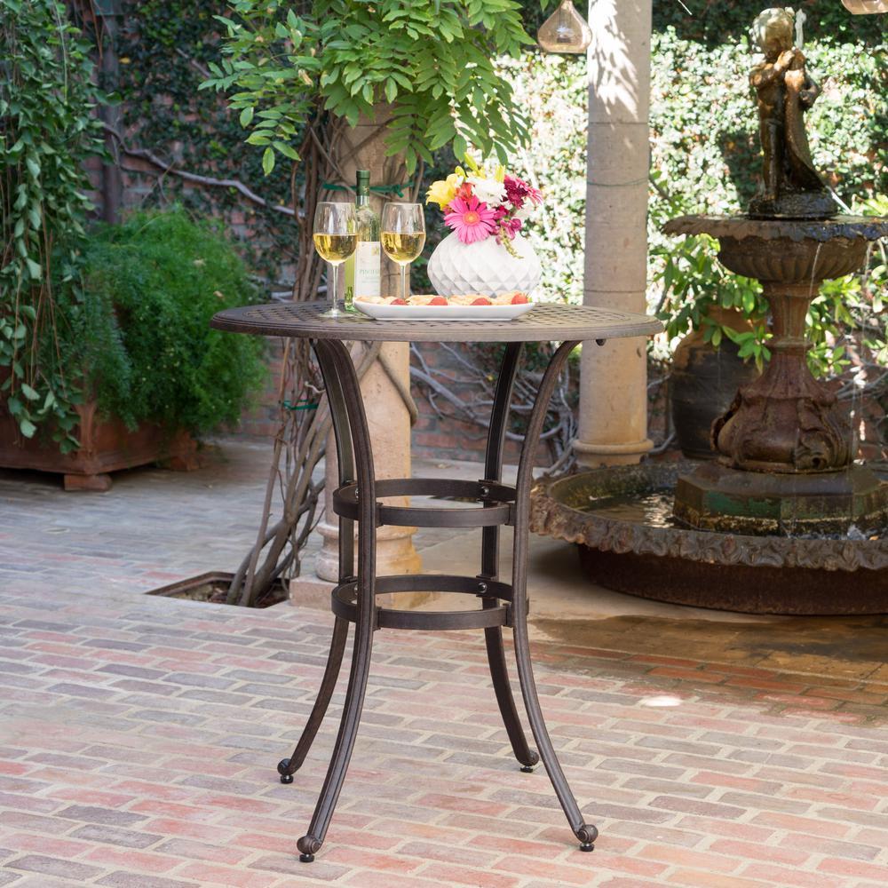 Bronze Round Aluminum Outdoor Bistro Table