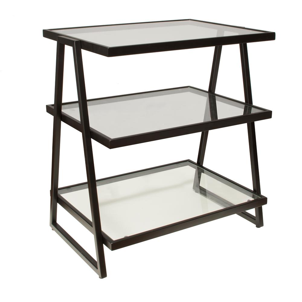 Hillsdale Furniture Harlan Black 3-Tier Shelf Stand with Glass ...