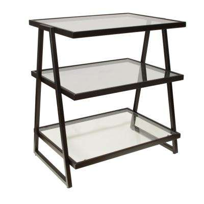 Harlan Black 3-Tier Shelf Stand with Glass Shelves
